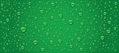 Green water drops panorama background