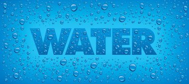 many water drops on blue background