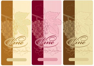 vector wine labels with grapes and leaf