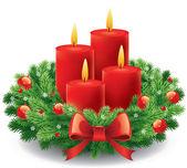 Adventskranz mit brennenden Kerzen für die Vorweihnachtszeit