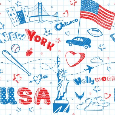 Cartoon doodle seamless pattern with USA flag