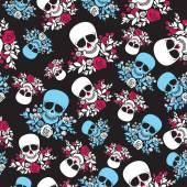 nahtloses Muster mit Totenkopf und Rosen