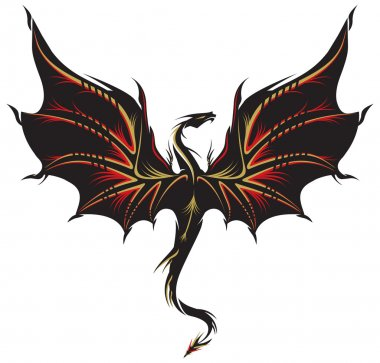 Dragon tattoo in black, golden and red.