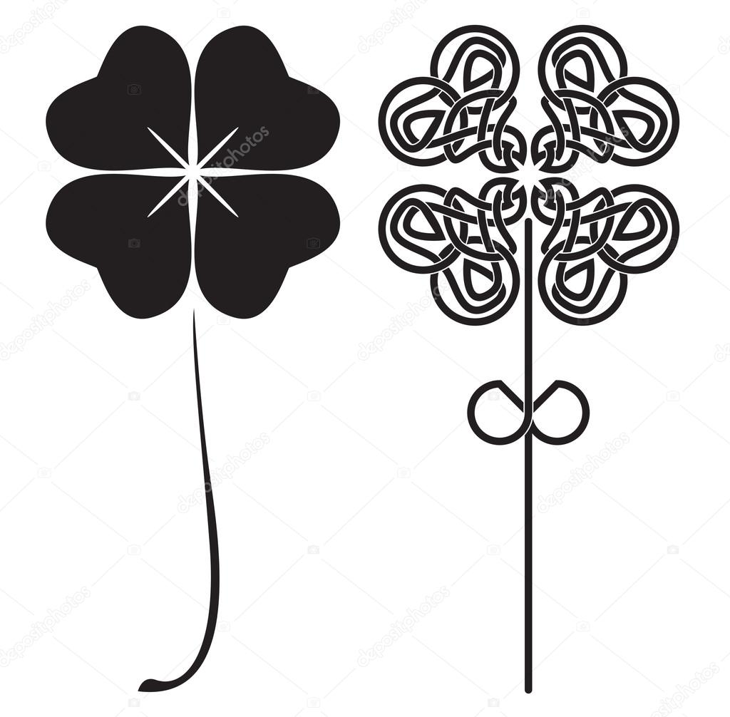 Black four-leaf clovers