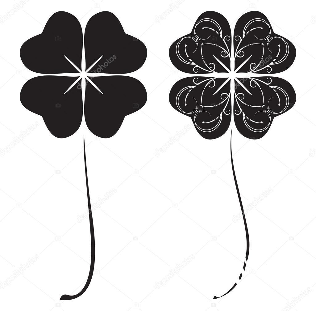Tréboles de cuatro hojas negros — Vector de stock © R-i-s-e- #66771411