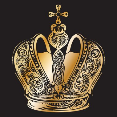 Golden imperial ornated crown