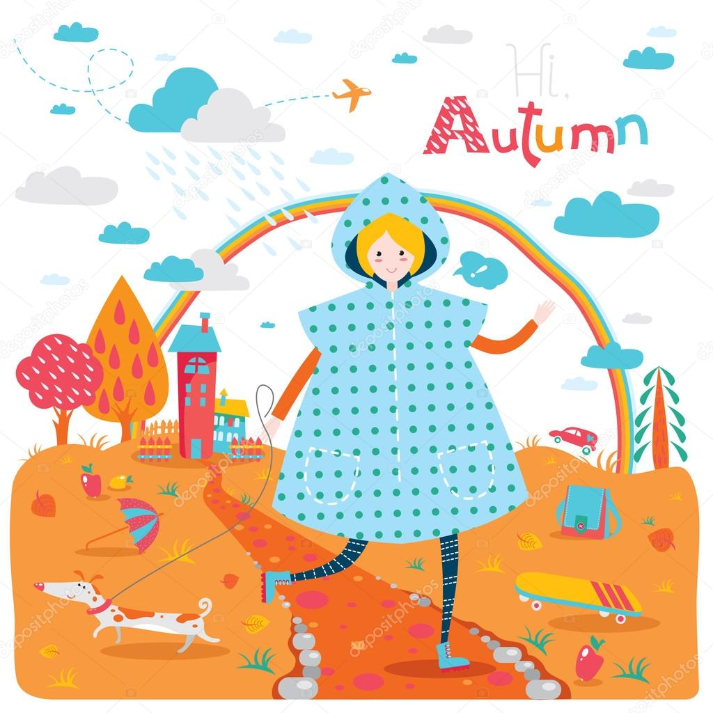 Autumn banner with happy jumping teenage girl in raincoat and dog