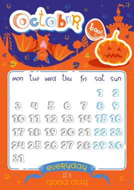 Calendar page, October 2016