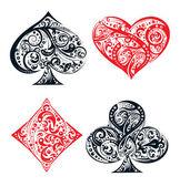 Satz von vier Vektor Spielkarte Anzug Symbolen gemacht durch florale Elemente
