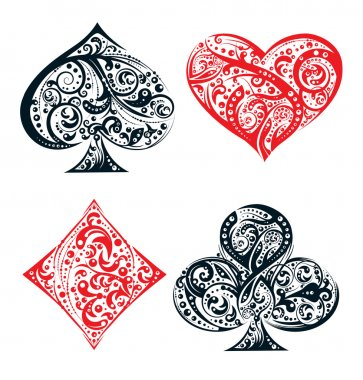 Set of four vector playing card suit symbols made by floral elements