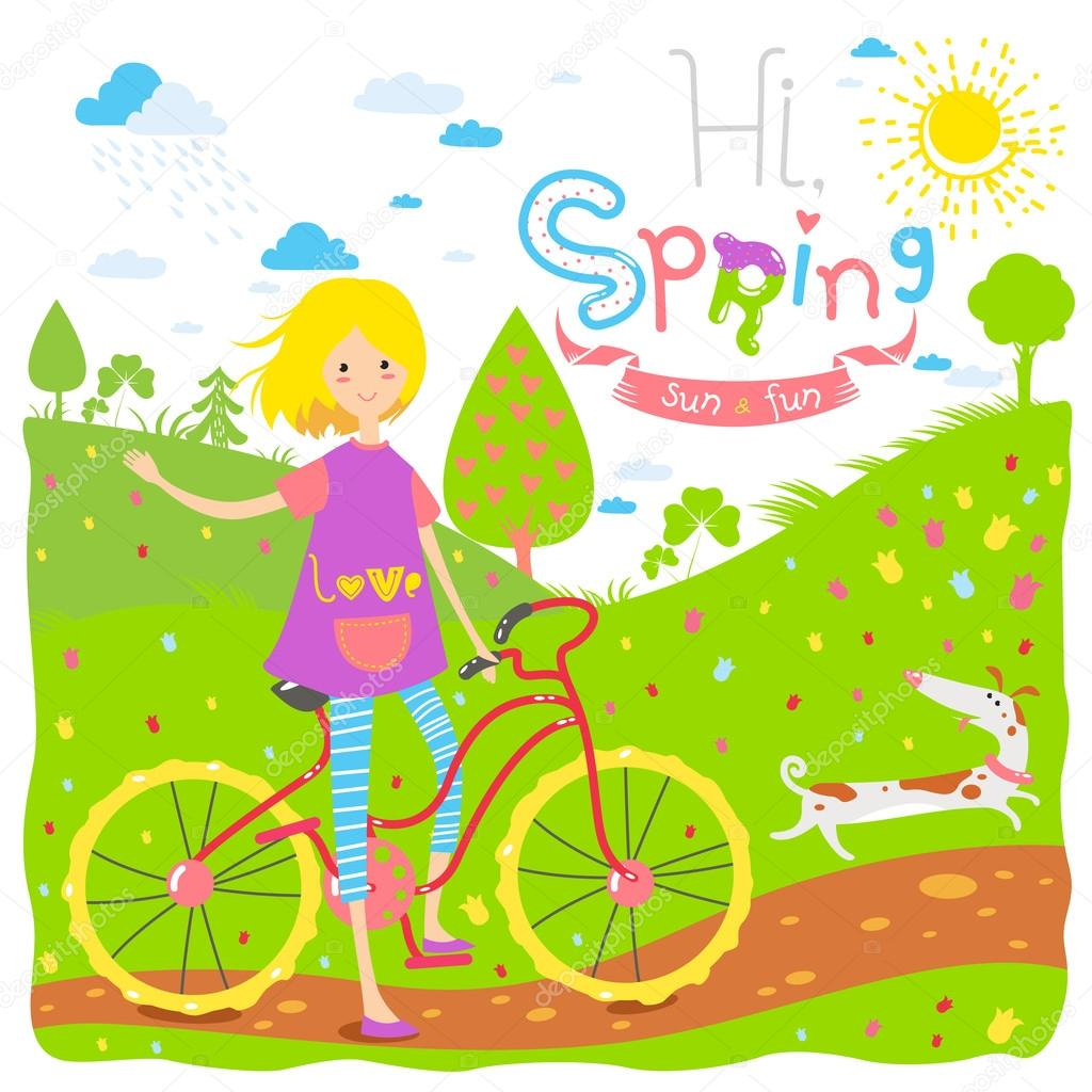 Cute seasonal banner with happy teenage girl with a bicycle and dog