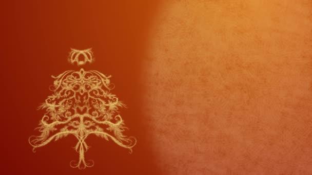 Vánoční strom z ledu vzor v žluté slavnostní osvětlení na oranžovém pozadí