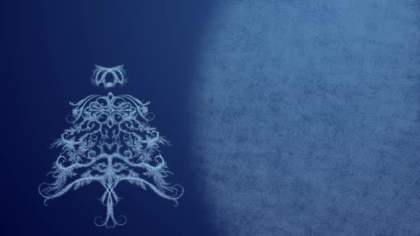 Vánoční strom z ledu vzor v slavnostní osvětlení na tmavě modrém pozadí