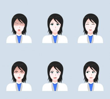 Cartoon face of a woman doctor. A set of girls of doctors with different emotions on their faces. Set of Vector Cartoon Anime Style Expressions. Sketch. EPS 10. Vector illustration icon