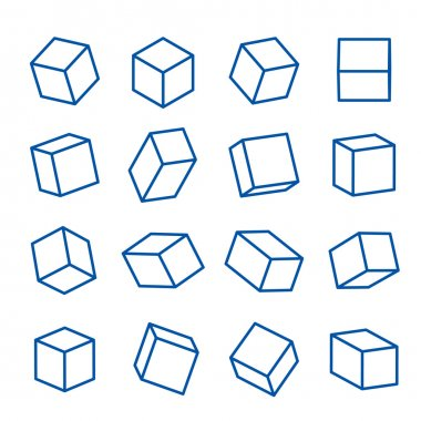 set of geometric shapes, platonic solids, vector Icon Line illustration