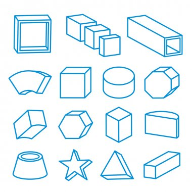 set of geometric shapes, platonic solids, vector Icon Line illustration
