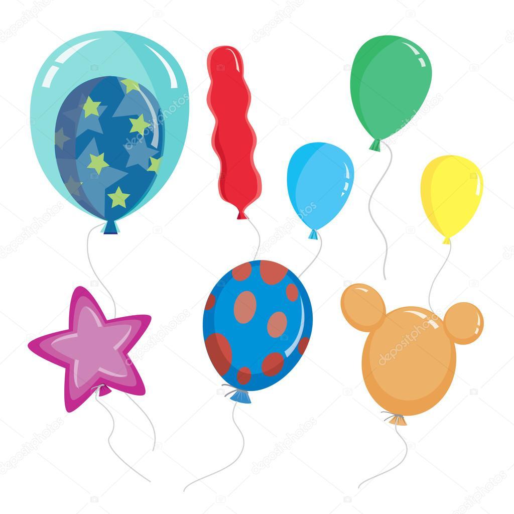 Conjunto de globos de dibujos animados con diferentes formas y