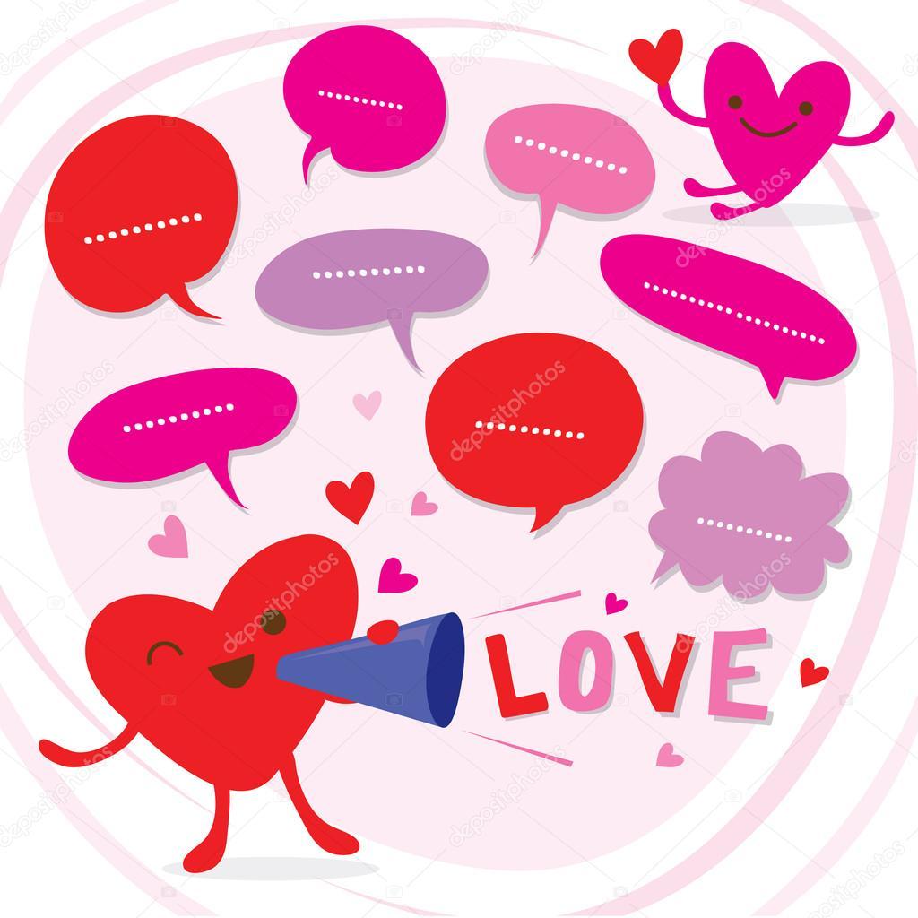 Animado Dia Del Cariño Hablar De Corazón Amor A Vector De Dibujos