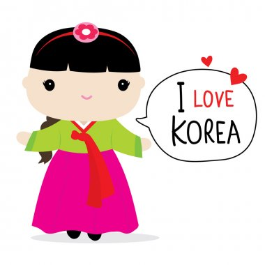 Korea Women National Dress Cartoon Vector