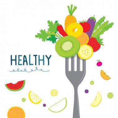 Healthy Fruit Vegetable Diet Eat Useful Vitamin Cartoon Vector stock vector