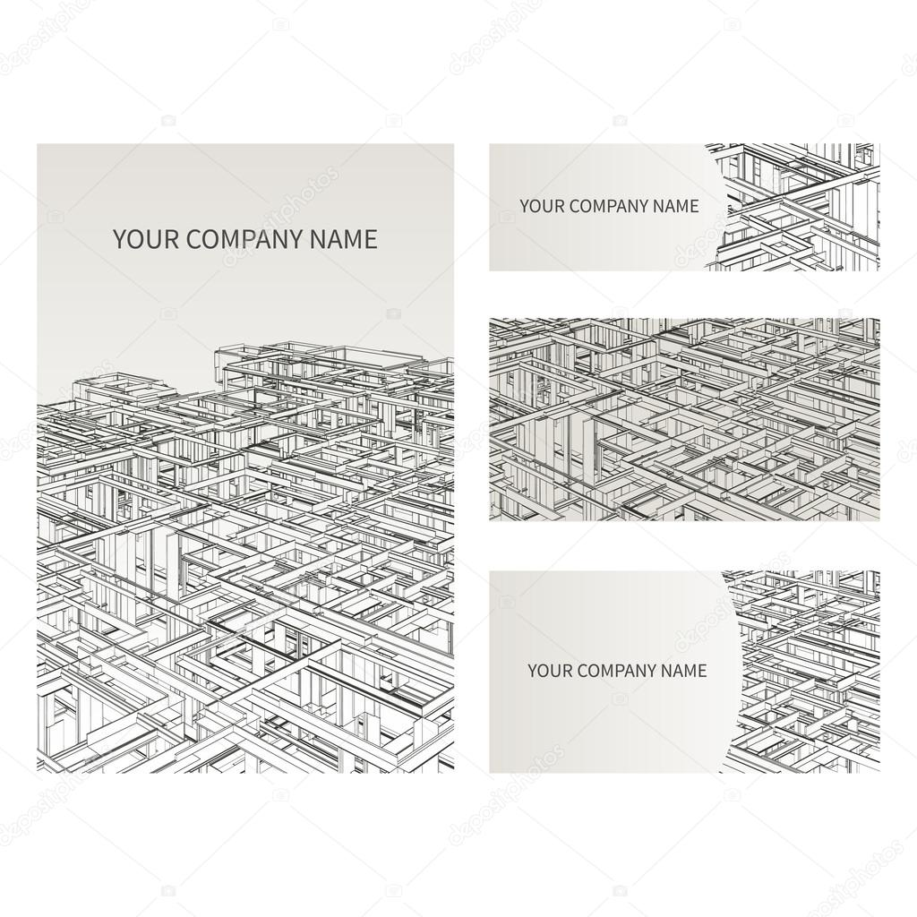 Set of business card and invitation card templates architecture and set of business card and invitation card templates architecture and construction concept vector design stopboris Gallery