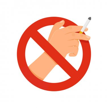 Stop smoking hand with a cigarette sign icon