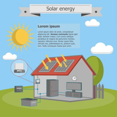 Solar energy house panel scheme isometric energetics