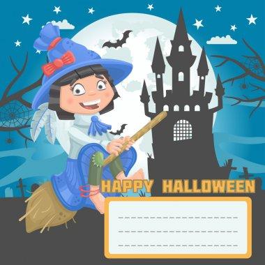 Girl witch halloween postcard