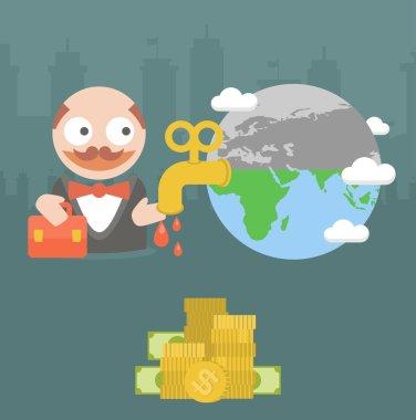 Businessman earth energy crisis money