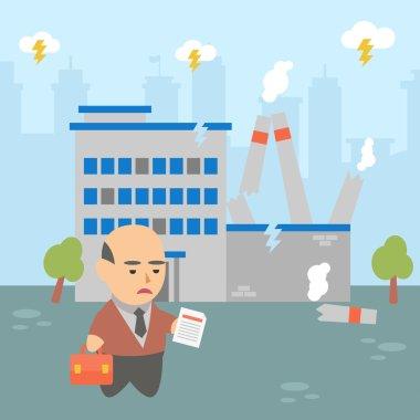Businessman crisis factory