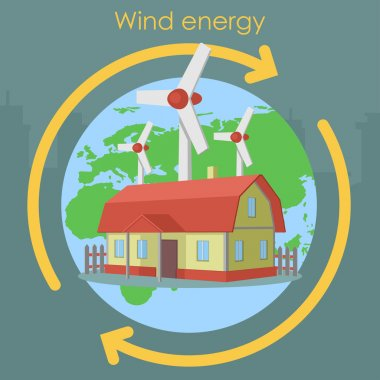 Wind energy house planet plant
