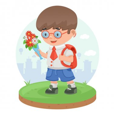 Schoolboy child pupil flowers knowledge education