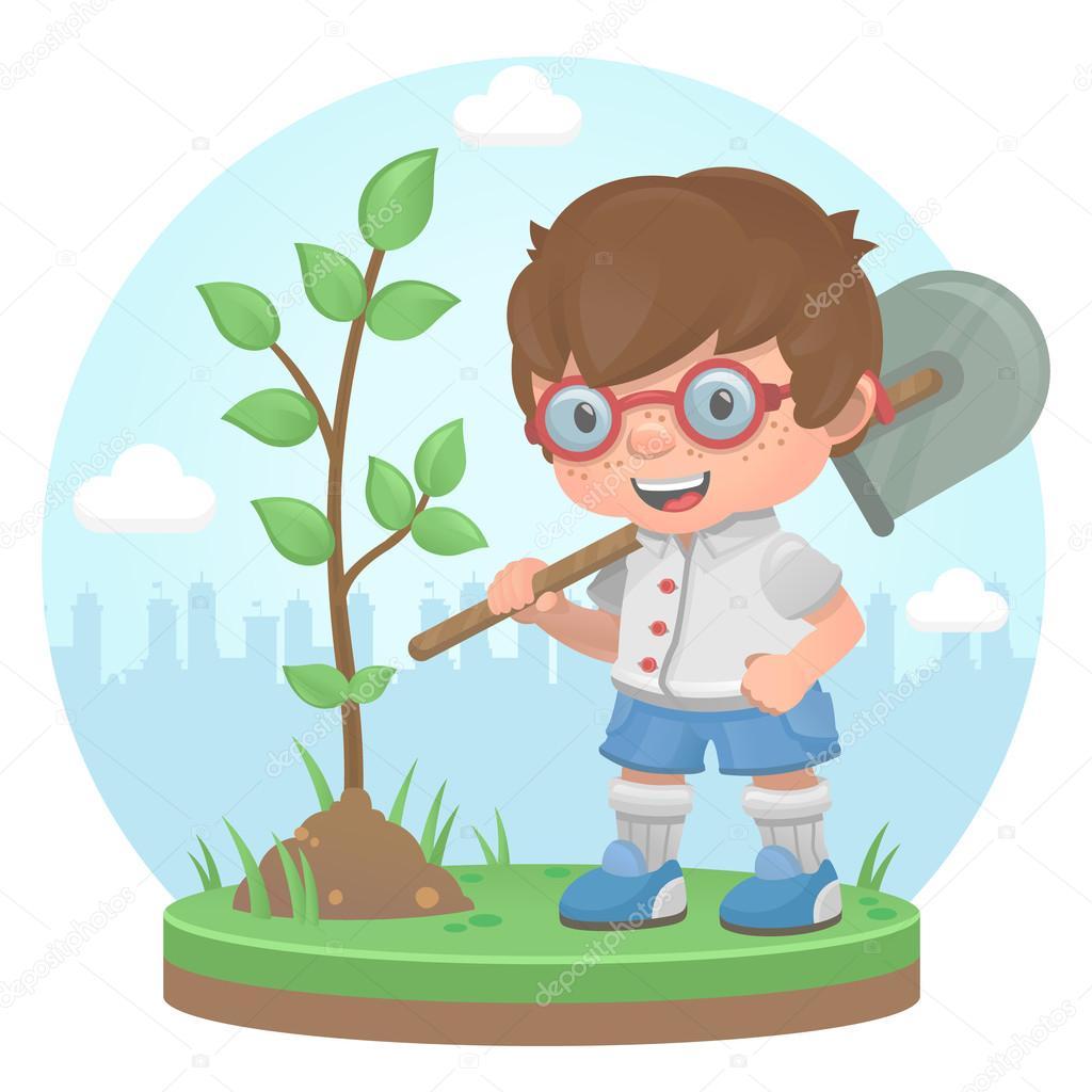Boy plant tree summer