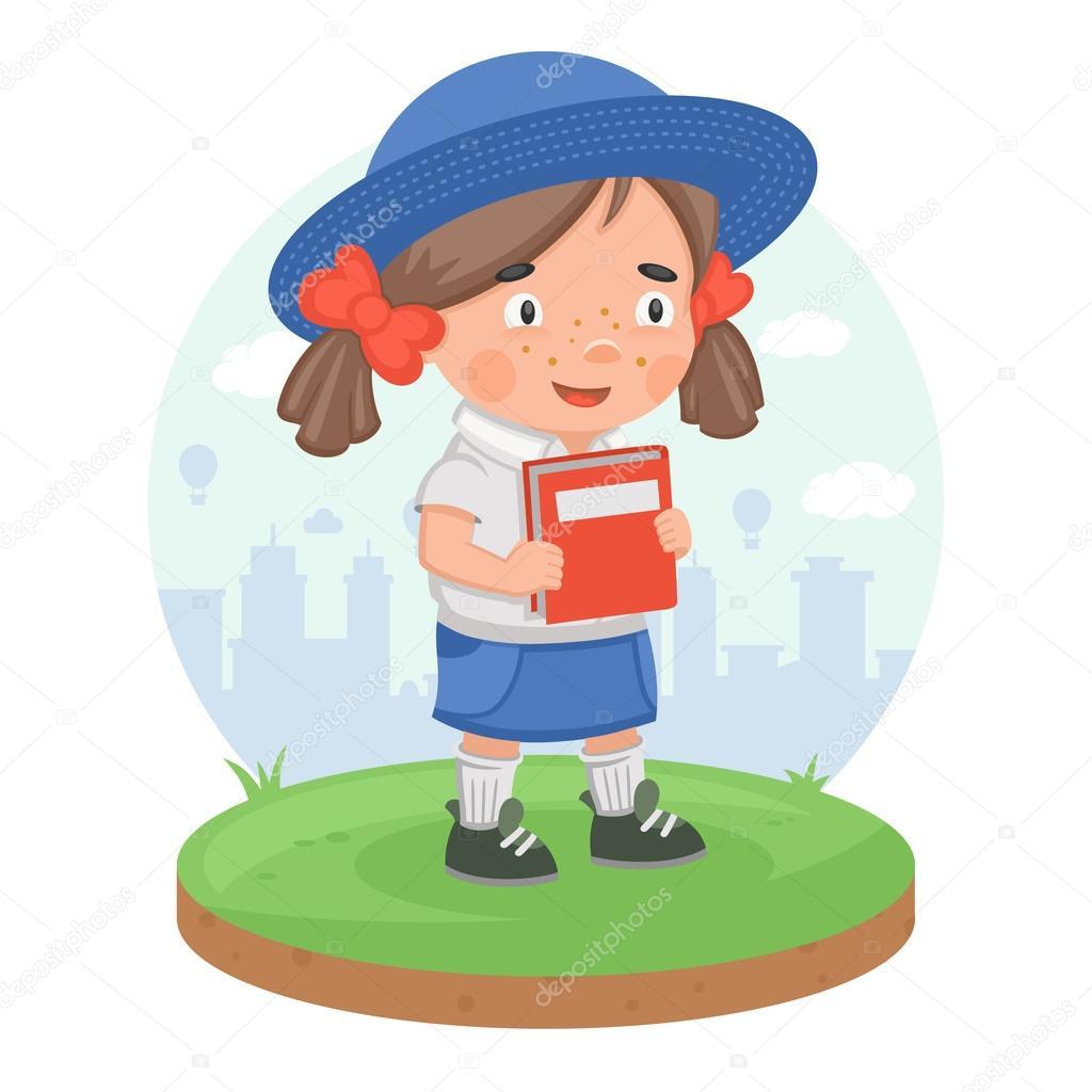 Schoolgirl pupil book knowledge