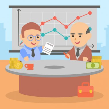 Business businessman client pairs contract character