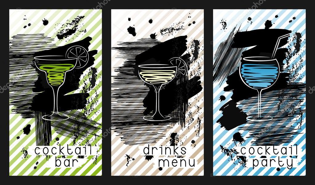 Ensemble De Modle Conception Pour Cartes Visite Dun Bar Cocktails