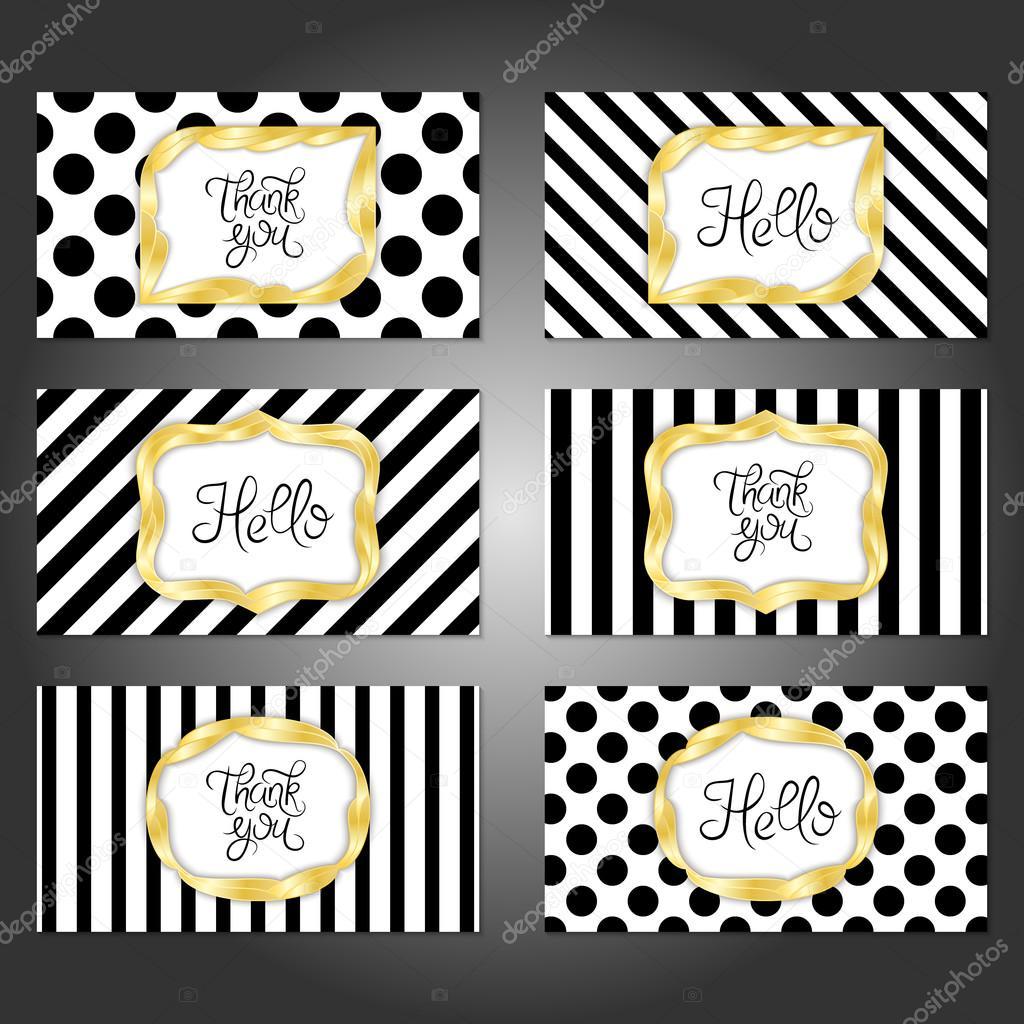 Conjunto de 6 plantillas de tarjetas vintage en colores oro, blanco ...