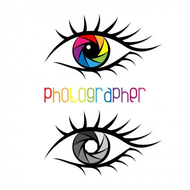 Camera shutter in eye design Concept. Logo template.