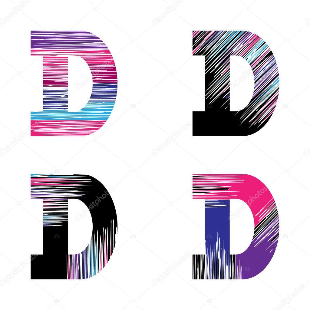 Lettre D ensemble. Symbole de l\u0027alphabet graphique vectoriel dans style  grunge. Éléments de modèle de conception \u2014 Vecteur par Elena_Owl