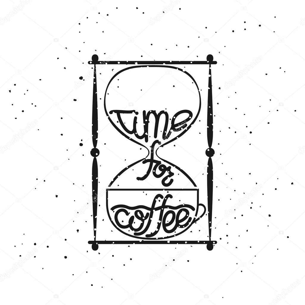 illustration of a hourglass with the lettering time for coffee Hourglass Angel illustration of a hourglass with the lettering time for coffee stock vector