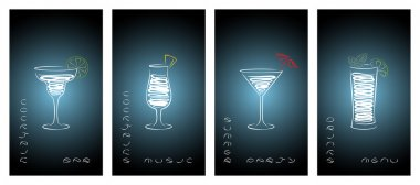 Set of design template for cocktail bar business cards.