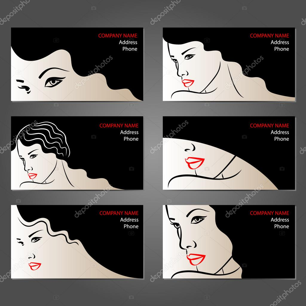 Set Of Business Cards For Beauty And Hair Salons Stock Vector