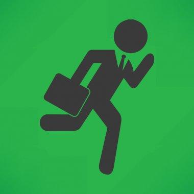 Businessman stick man figure running
