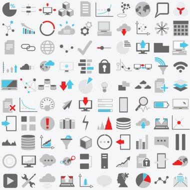 Set of one hundred technology  icons