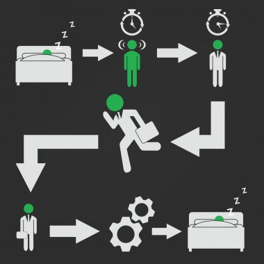 Businessman daily activities icons
