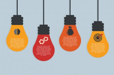 Four light bulbs in flat design