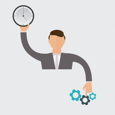 Businessman holding a clock and pointing to a mechanism