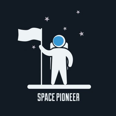 Astronaut standing with a flag