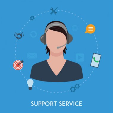 Customer support center operator service woman