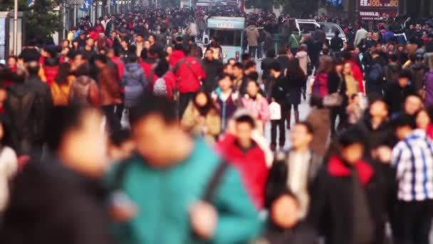 Slow Motion of Busy Crowds Traffic on Nanjing Road, Shanghai